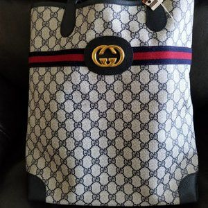 New with Tag Vintage Gucci Blue GG Travel Tote